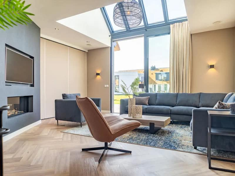 Sfeerfoto van een luxe villa op Villapark de Koog