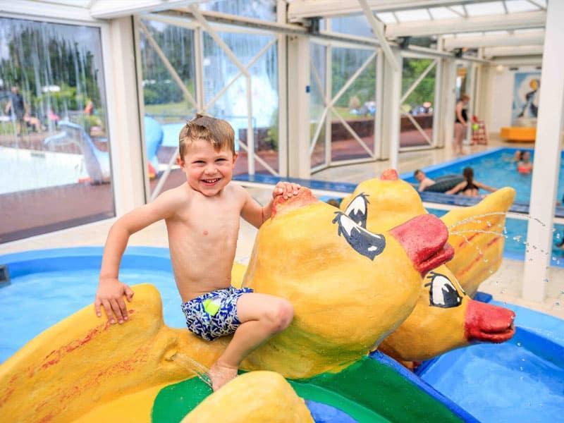 Impressie van het binnenzwembad op TopParken Resort Veluwe in Garderen